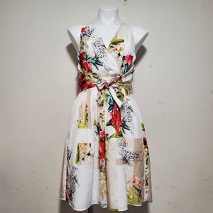 WHBM white floral faux wrap dress sleeveless